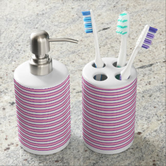 Pink, White and Purple Stripes Soap Dispenser And Toothbrush Holder
