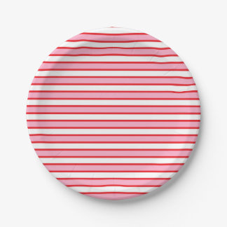 Pink, White and Red Stripes 7 Inch Paper Plate
