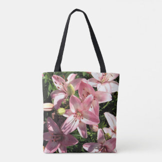 Pink White Asiatic Lilies Early Summer Tote Bag