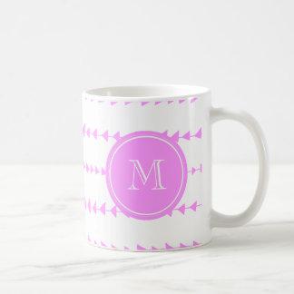 Pink White Aztec Arrows Monogram Coffee Mug