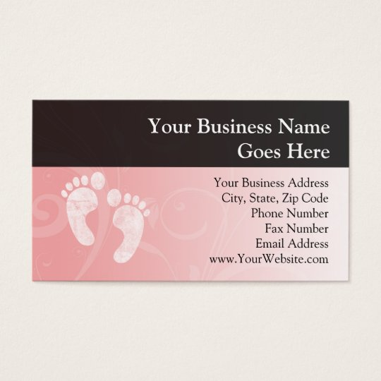 Pink/White Baby Footprints Business Card