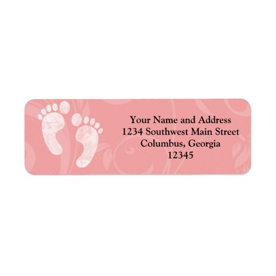 Pink/White Baby Footprints Return Address Label