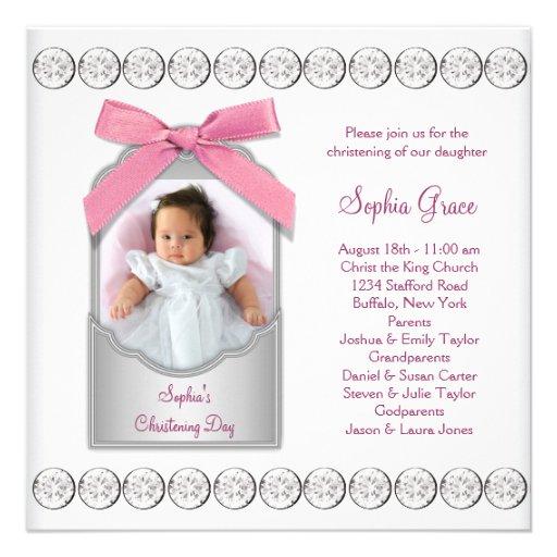 Pink White Baby Girl Photo Christening Custom Announcement