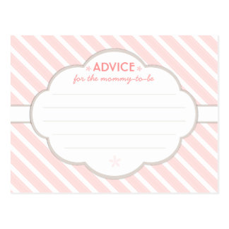 Pink | White Baby Shower Advice for Mommy to Be Postcard