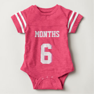 Pink & White Baby   Sports Jersey Design Baby Bodysuit