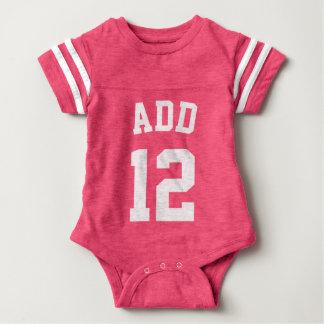 Pink & White Baby   Sports Jersey Design Infant Bodysuit