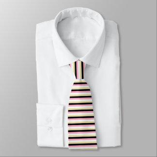 Pink, White, Beige and Black Stripes Tie