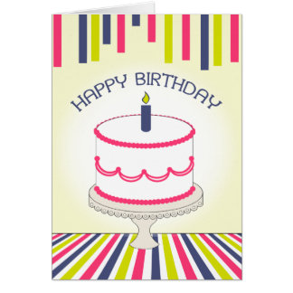 Pink & White Birthday Cake & Colorful Stripes Greeting Card