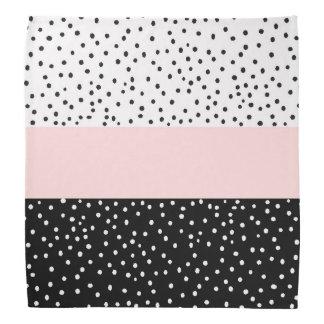 Pink white black watercolor polka dots bandana