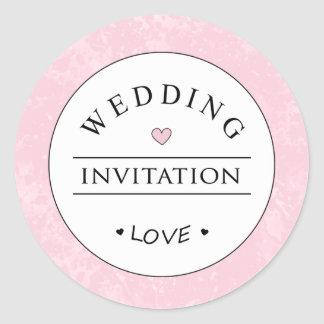 Pink White Black Wedding Invitation Round Label