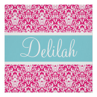 Pink White Blue Damask Custom Posters