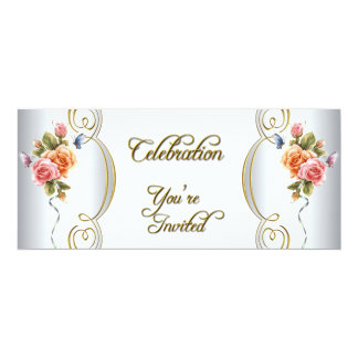 Pink White Blue Gold Elegant Birthday Party 10 Cm X 24 Cm Invitation Card