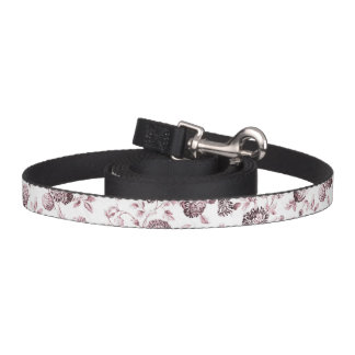 Pink & White Botanical Floral Toile Dog Lead