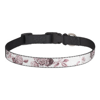 Pink & White Botanical Floral Toile Pet Collar