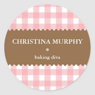 Pink white brown gingham homemade food label seal