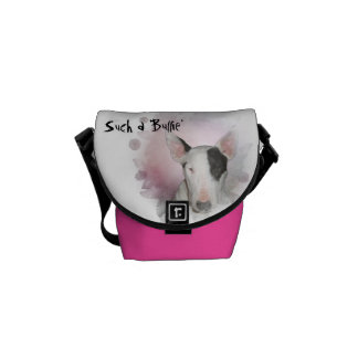 Pink & White Bull Terrier Pink Butterfly Mini Bag Messenger Bags