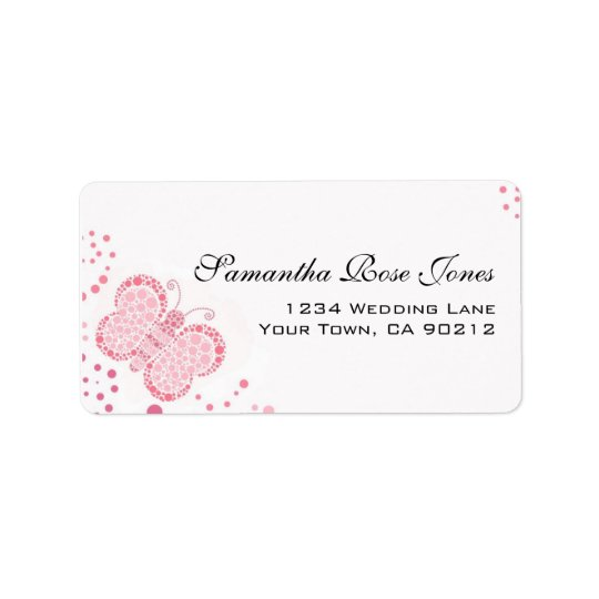 Pink & White Butterfly Pointillism Custom Address Address Label