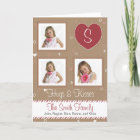 Pink White Candy Stripe, Brown Paper & Stitching Christmas Card