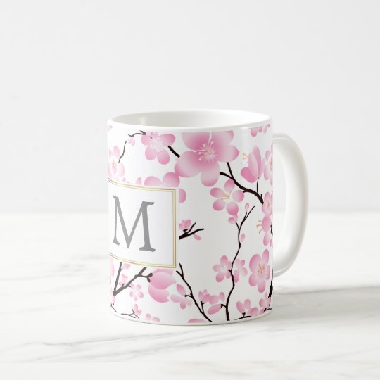 pink white cherry blossom initial customisable mug