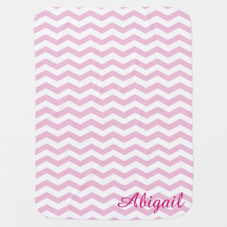 Pink & White Chevron Monogram Baby Blanket