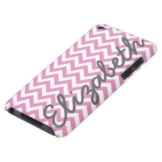 Pink White Chevron Pattern Barely There iPod Cover
