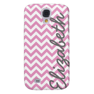 Pink White Chevron Pattern Galaxy S4 Case