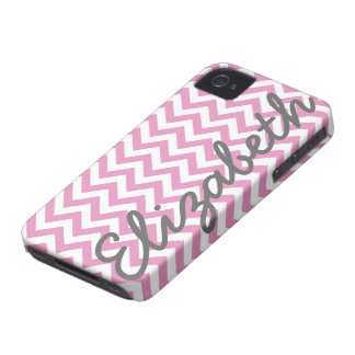 Pink White Chevron Pattern iPhone 4 Case-Mate Cases