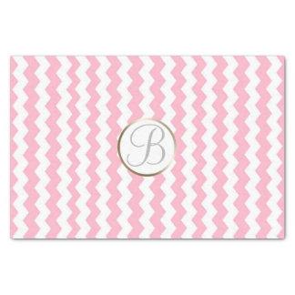 Pink White Chevron Print Monogram Letter Initial Tissue Paper