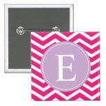 Pink White Chevron Purple Monogram Pinback Button