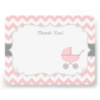 Pink White Chevron Stroller Thank You Note Cards