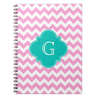 Pink White Chevron Zigzag Teal Quatrefoil Monogram Notebook