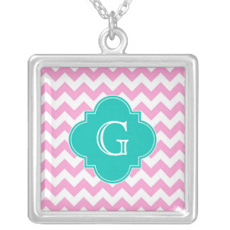 Pink White Chevron Zigzag Teal Quatrefoil Monogram Silver Plated Necklace