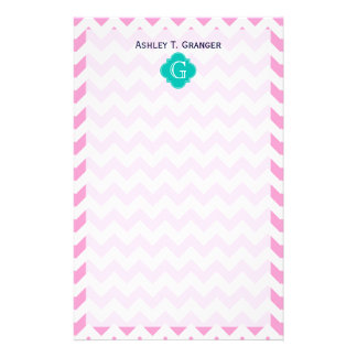 Pink White Chevron Zigzag Teal Quatrefoil Monogram Stationery