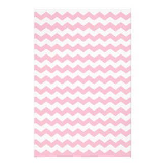 Pink white chevrons custom stationery