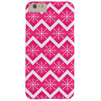 Pink & White Christmas Snowflakes Chevron Pattern Barely There iPhone 6 Plus Case