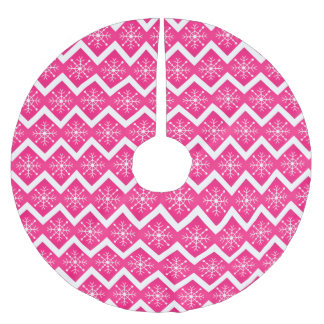 Pink & White Christmas Snowflakes Chevron Pattern Brushed Polyester Tree Skirt