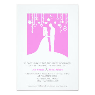 Pink & White Contemporary Marriage ceremony 13 Cm X 18 Cm Invitation Card