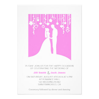 Pink White Contemporary Marriage ceremony Invitations