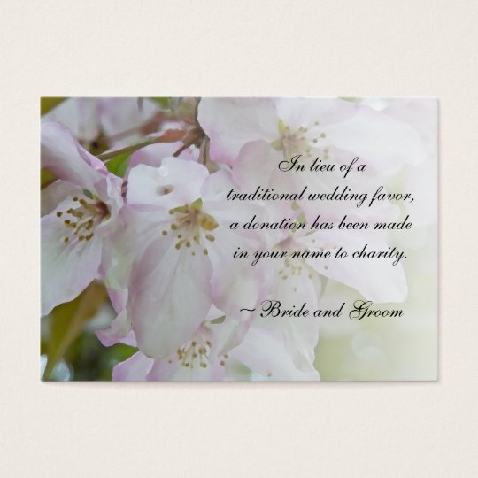 Pink White Crab Apple Blossom Wedding Charity Card