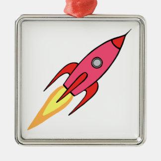 Pink & White Cute Retro Rocketship Cartoon Design Christmas Ornament