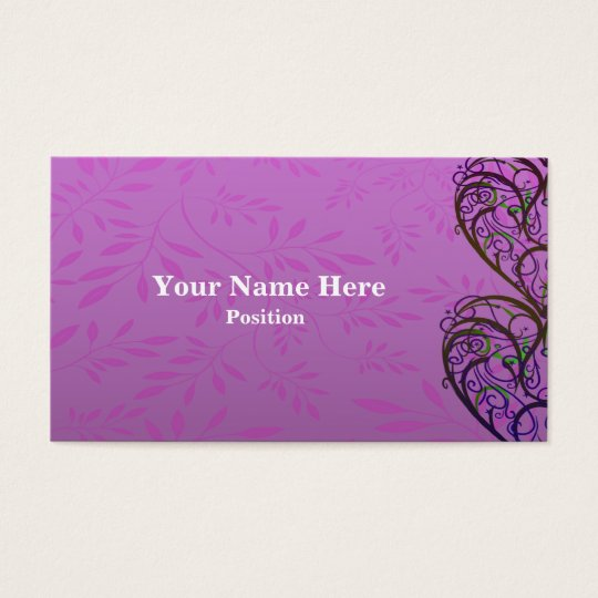 Pink White Damask Business Card