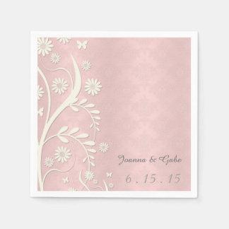 Pink White Damask Daisy Floral Wedding Paper Serviettes