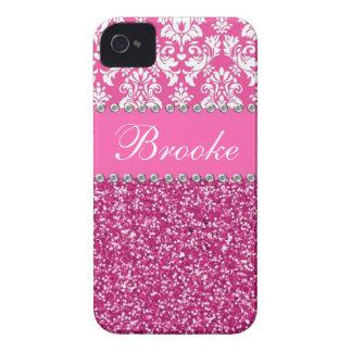 Pink & White Damask & Glitter Rhinestone Case Case-Mate iPhone 4 Case