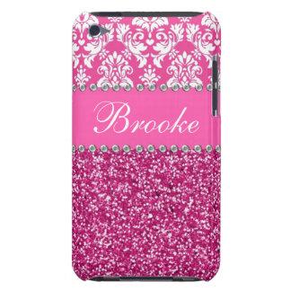 Pink & White Damask & Glitter Rhinestone Case