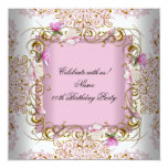 Pink White Damask Gold Flowers Birthday Party