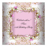 Pink White Damask Gold Flowers Birthday Party 13 Cm X 13 Cm Square Invitation Card
