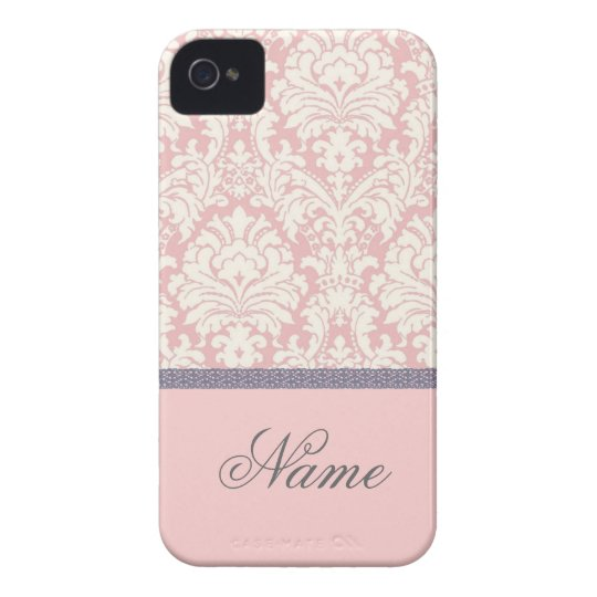 Pink&White Damask iPhone Case with Name