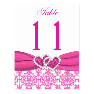Pink, White Damask Joined Hearts Table Number Postcard