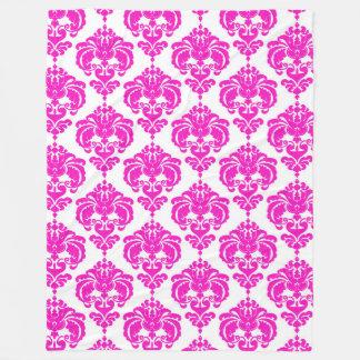 Pink & White Damask Pattern Chic Elegant Trendy Fleece Blanket