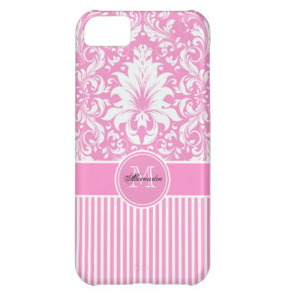 Pink & White Damask  & Stripes Pattern iPhone 5C Case
